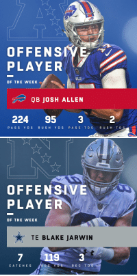 Memes, 🤖, and Jaws: OFFENSNE  PLAYER  OF THE WEEK  QB JOSH ALLEN  224 95 3  2  PASS Y D S  R USH Y D S  PA S S TD S  R U S H T D   dowBorS  OFFENSAVE  PLAYER  OF THE WEEK  TE BLAKE JARWIN  7  1193  CAT C HES  R E C Y D S  REC TDS Offensive Players of the Week (Week 17):  AFC: @buffalobills QB @JoshAllenQB NFC: @dallascowboys TE @Jaws_47 https://t.co/XZ2I8KEQu4