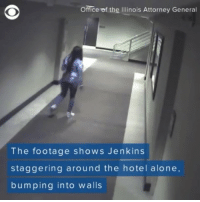 Authorities have released surveillance footage from a hotel in suburban Chicago where 19-year-old KennekaJenkins' body was discovered in a freezer last weekend. BiggasBestBuys_: Office of the Illinois Attorney General  The footage shows Jenkins  staggering around the hotel alone,  bumping into walls Authorities have released surveillance footage from a hotel in suburban Chicago where 19-year-old KennekaJenkins' body was discovered in a freezer last weekend. BiggasBestBuys_