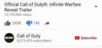 I wonder what Activsion is going to do after all this negative feedback.: Official Call of DutyB: Infinite Warfare  Reveal Trailer  12,740,560 views  245K 1M  Call of Duty  Subscribe  CALEDUTY  4,273,493 subscribers I wonder what Activsion is going to do after all this negative feedback.