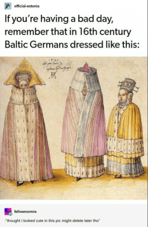 """Bad, Bad Day, and Cute: official-estonia  If you're having a bad day,  remember that in 16th century  Baltic Germans dressed like this:  fellownormie  thought i looked cute in this pic might delete later tho"""" Most Funny Quotes : These Tumblr posts will speak to you on a spiritual level. #Tumblr #Lols"""