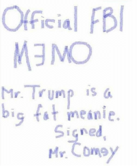 meanie: Official FB  MEMO  Mr Trump is a  big t meanie.  i Gned  Mr Corey