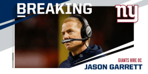 OFFICIAL: Giants hire Jason Garrett as offensive coordinator. https://t.co/9vvGJ6D4wd: OFFICIAL: Giants hire Jason Garrett as offensive coordinator. https://t.co/9vvGJ6D4wd