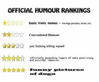 memes dank dankmemes spicy spicymemes shitpost reposts edgy edgymemes harambe aesthetic filthyfrank papafranku spooky autism lmao lmfao weeaboo 4chan fnaf vaporwave cancer jetfuelcantmeltsteelbeams mlg triggered csgo memesdaily instagram leafyishere sarcasm: OFFICIAL HUMOUR RANKINGS  basic ironic memes montage parodies, shrek,ctc.  Conventional Humour  just fucking killing myself  ascending layers of meta post-irony  and suicidal ideation  funny pictures memes dank dankmemes spicy spicymemes shitpost reposts edgy edgymemes harambe aesthetic filthyfrank papafranku spooky autism lmao lmfao weeaboo 4chan fnaf vaporwave cancer jetfuelcantmeltsteelbeams mlg triggered csgo memesdaily instagram leafyishere sarcasm