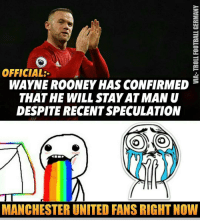 Rooney is staying!! Follow @instatroll.soccer: OFFICIAL:  WAYNE ROONEY HAS CONFIRMED  THAT HE WILL STAY ATMAN U  DESPITE RECENTSPECULATION  MANCHESTER UNITED FANSRICHTNOW Rooney is staying!! Follow @instatroll.soccer
