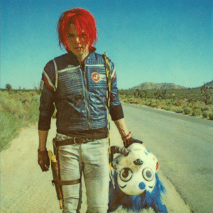 Taken, Tumblr, and Blog: officialneilkrug:  Gerard Way during the Danger Days photo shoot.  Photograph - Neil Krug This was one of the first photographs I took during my desert shoot with My Chemical Romance for the Danger Days record. All the photographs of Gerard along the road and near the Trams Am were taken around eight in the morning.