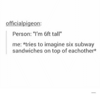 "Memes, Subway, and Math: officialpigeon:  Person: ""I'm 6ft tall""  me: *tries to imagine six subway  sandwiches on top of eachother did anyone else take the AMC math test bc it made me want to kms"