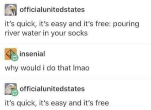Dank, Memes, and Target: officialunitedstates  it's quick, it's easy and it's free: pouring  river water in your socks  insenial  why would i do that Imao  officialunitedstates  it's quick, it's easy and it's free Meirl by Rasuco MORE MEMES