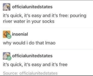 Dank, Memes, and Target: officialunitedstates  it's quick, it's easy and it's free: pouring  river water in your socks  insenial  why would i do that Imao  officialunitedstates  it's quick, it's easy and it's free  Source: officialunitedstates Me IRL by RhinoInAHat MORE MEMES