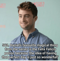 Morning everyone! I have my last ever dance show with my dance school today so it's going to be a day full of every story of emotion! Qotd - What magical item would you choose? Carina Mae x Fc - 87.4k @maelovesbooks @carinapotter: ofhogwarts  562. Daniel's favourite magical thing  from the series is the Felix Felicis  potion because the idea of having  that perfect day is iust so wonderful! Morning everyone! I have my last ever dance show with my dance school today so it's going to be a day full of every story of emotion! Qotd - What magical item would you choose? Carina Mae x Fc - 87.4k @maelovesbooks @carinapotter