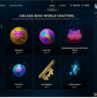 Arcade Boss World Crafting | LeagueofLegends: OFILE COLLECTION  LOOT STORE 996705 999K  so  ARCADE BOSS WORLD CRAFTING  Welcome to the prize counter. Redeem your tickets here until 9/11/17 23:59 PT Learn More  Battle Boss Baron Icon with Event  Emote  Mega Orb  g 150  Great Orb  120  80  Good Orb  Key Fragment  10 Blue Essence  80  40  10 Arcade Boss World Crafting | LeagueofLegends
