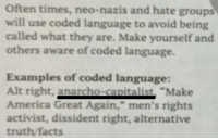 "Dear leftists, stop overusing ""neo-Nazi."" You are taking away its power. Anarcho-capitalism is a philosophy based on non-aggression. Advocates believe that no one has the right to initiate force against another human being. Sounds like.... the complete opposite of Nazism. Save the term neo-Nazi for actual neo-Nazis.   Flyer found at The University of Kansas.  H/T: Campus Reform: Often times, neo-nazis and hate groups  will use coded language to avoid being  called what they are. Make yourself and  others aware of coded language.  Examples of coded language:  Alt right.  nacho Make  America Great Again,"" men's rights  activist, dissident right, alternative  truth facts Dear leftists, stop overusing ""neo-Nazi."" You are taking away its power. Anarcho-capitalism is a philosophy based on non-aggression. Advocates believe that no one has the right to initiate force against another human being. Sounds like.... the complete opposite of Nazism. Save the term neo-Nazi for actual neo-Nazis.   Flyer found at The University of Kansas.  H/T: Campus Reform"