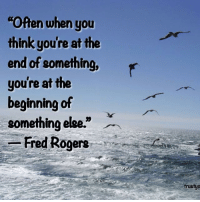 """Trust Your Journey <3: Often when you  think you're at the  end of something, r  you're at the  beginning of  something else.""""  -Fred Rogers  trustyo Trust Your Journey <3"""