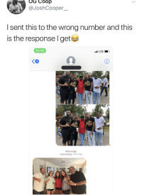 Wholesome, Yesterday, and Coop: OG Coop  DJoshCooper-  I sent this to the wrong number and this  is the response l get  10:40  ☆☆イ  ☆が  iMessage  Yesterday 5:51 PM OH! Y'all Wholesome Too?!
