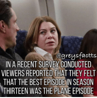 Friends, Memes, and Best: ogreysfactts  IN A RECENT SURVEY CONDUCTED  VIEWERS REPORTED THAT THEY FELT  THAT THE BEST EPISODENSEASON  THIRTEEN WAS THE PLANE EPISODE Tag Friends! 💃🏻🍷 + Fact: In a recent survey conducted viewers reported that they felt that the best episode in season thirteen was the plane episode! 💃🏻🍷 + - greysanatomy greys greysfacts greysabc