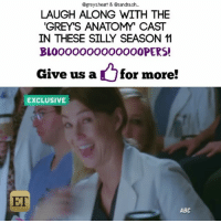 DOUBLE TAP for more Bloopers!! 💜😝📣 -- - - { marksloan plasticsurgery ericdane mcsteamy brothers greysanatomy sandraoh memorialhospital meredithgrey ellenpompeo cristinayang morningpost twistedsisters mcdreamy love tuesday laughing patrickdempsey merder derekshepherd mcdreamy}: Ogreysheart & Dsandraoh-  LAUGH ALONG WITH THE  GREY'S ANATOMY CAST  IN THESE SILLY SEASON  BLOOOOOOOOOOOOOOPERS!  Give us a  for more!  EXCLUSIVE  ET  ABC DOUBLE TAP for more Bloopers!! 💜😝📣 -- - - { marksloan plasticsurgery ericdane mcsteamy brothers greysanatomy sandraoh memorialhospital meredithgrey ellenpompeo cristinayang morningpost twistedsisters mcdreamy love tuesday laughing patrickdempsey merder derekshepherd mcdreamy}