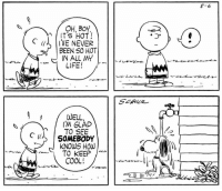 This strip was published on August 6, 1960. ☀️: OH, BOY  ITS HOT  C  IVE NEVER  BEEN SO HOT  IN ALL MY  LIFE!  WELL,  TO SEE  C (IL SOMEBODY  KNOWS HOW  TO KEEP  COOL!  8-6 This strip was published on August 6, 1960. ☀️