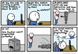 Lazy Programming: oh boy, this code i'm  writing is gonna  cause problems in  about 1o years  IO years later|  just one last  Subroutine and then  +he human race is,  ours!  doubt this system  will even be around  by then!  ha, whatever!  oh no!  this function wasn't  programmed  Correctly!  ive saved mankind  with my lazy  programming!  yay!  invisible bread.com  NN Lazy Programming