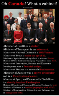 The Canadian Parliament..!! (Y): Oh Canada! What a cabinet!  Truth Inside Of You  -Minister of Health is a doctor.  -Minister of Transport is an astronaut  -Minister of National Defense is a Sikh Veteran,  -Minister of Youth is under the age of 45  -Minister of Agriculture and Agri-Food is a former farmer  -Minister of Public Safety and Emergency Preparedness was a Scout.  -Minister of Innovation, Science and Economic  Development was a financial analyst  -Minister of Finance is a successful businessman.  -Minister of Justice was a crown prosecutor  and is a  -Minister of Sport, and Persons with Disabilities  is a  -Minister of Fisheries and Oceans, and Canadian Coastguard is Inuit.  -Minister of Science is a medical geographer with a PhD  -Minister of Immigration, Citizenship and Refugees was  an Immigration critic.  First Nations leader  visually impaired Paralympian The Canadian Parliament..!! (Y)