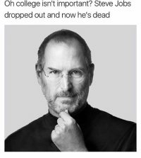 Oh college isn't important? Steve Jobs  dropped out and now he's dead Graduate highschool on the 12th