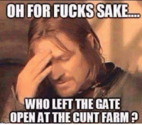 Memes, 🤖, and Gate: OH FOR FUCKS SAKE  WHO LEFT THE GATE  OPEN ATTHE CUNT FARM