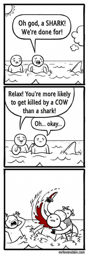 God, Tumblr, and Shark: Oh god, a SHARK!  We're done for!  Relax! You're more likely  to get killed by a COW  than a sharlk!  Oh... okay  mrlovenstein.com epicjohndoe:  Oh No, It's A Shark