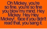 Dank, Sang, and Mind: Oh Mickey, you're  so fine, you're so fine  you blow my mind. Hey  Mickey. Hey Hey  Mickey!.. face it you didn't  read that, you sang it.