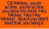 Dank, Sang, and Mind: Oh Mickey, you're  so fine, you're so fine  you blow my mind. Hey  Mickey. Hey Hey  Mickey!.. face it you didn't  read that, you sang it