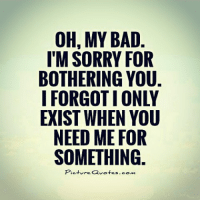 OH, MY BAD.  I'M SORRY FOR  BOTHERING YOU.  IFORGOTIONLY  EXIST WHEN YOU  NEED ME FOR  SOMETHING.  Picture Quotes.com Oops Sorry My Bad