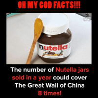 Facts, God, and Memes: OH MY COD FACTS!!!  GOD  The number of Nutella jars  sold in a year could cover  The Great Wall of China  8 times!