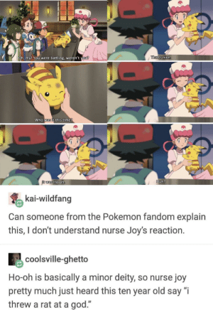 "Ghetto, God, and Huh: Oh, my! You  were battling, weren't  vou?  That's nice.  who was it this ime  was Ho-0  Huh?  kai-wildfang  Can someone from the Pokemon fandom explain  this,Idont understand nurse Joy's reaction.  coolsville-ghetto  Ho-oh is basically a minor deity, so nurse joy  pretty much just heard this ten year old say ""i  threw a rat at a god."" Oh Nurse Joy"