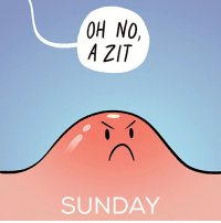 Life Cycle of a Zit (swipe to view!): OH NO,  A ZT  SUNDAY Life Cycle of a Zit (swipe to view!)