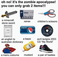 "Minecraft, Mario, and Xanax: oh no! it's the zombie apocalypse!  you can only grab 2 items!!!  Xanax  a minecraft  stone sword  xanax  children's scissors  pepsi  AVR  an english to a bepsi  australian dictionary  avril lavi  CD ""My World""  a mario costume mustard a pair of heelies"
