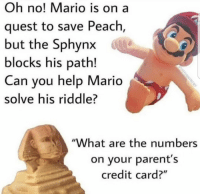 """Memes, Parents, and Mario: Oh no! Mario is on a  quest to save Peach,  but the Sphynx  blocks his path!  Can you help Mario  solve his riddle?  """"What are the numbers  on your parent's  credit card?"""" <p>Help Mario! via /r/memes <a href=""""https://ift.tt/2Iqn6yb"""">https://ift.tt/2Iqn6yb</a></p>"""