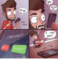 STAY BACK DEVIL (By @adamtots): OH NO..  RING  RING  @ADAMTOTs  BUZZFEED  Unknown  Decline  Answer  NO/  NO NO  No.  5... STAY  RING  RIM  RING STAY BACK DEVIL (By @adamtots)