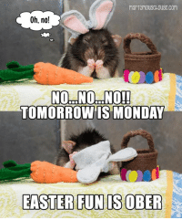 Easter: Oh, no!  TOMORROW IS MONDAY  EASTER FUN IS OBER