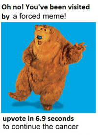 Oh no! You've been visited  by a forced meme!  upvote in 6.9 seconds  to continue the cancer me🐻irl