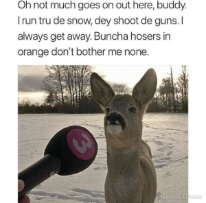 Dank, Guns, and Memes: Oh not much goes on out here, buddy  I run tru de snow, dey shoot de guns.I  always get away. Buncha hosers in  orange don't bother me none Oh, buncha hosers don't bother me none by hereforthecoolstuff MORE MEMES