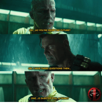 😅 • • • • Follow @deadpoolfacts for your daily Deadpool dose. deadpool2 ryanreynolds xforce mcu infinitywar comiccon deadpool marvel dubstep: OH....SO YOU'RE FROM THE FUTURE?  OK,I HAVE THREE QUESTIONS THEN.  FACTS  ONE...IS DUBSTEP STILL A THING? 😅 • • • • Follow @deadpoolfacts for your daily Deadpool dose. deadpool2 ryanreynolds xforce mcu infinitywar comiccon deadpool marvel dubstep