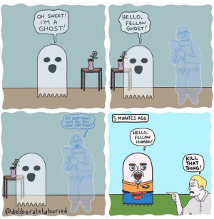 Ghosts (Not OC - @deliberatelyburied): OH SWEET!  HELLO,  FELLOW  GHOST!  I'M A  GHOST!  oousSES  ww  MY GOD MAN!  WHY DO YOu  LOOK LIKE THAT?  S MINUTES AGO  HELLO,  FELLOW  HUMAN!  BOokses  KILL  THAT  THING!  w  @deliberatelyburied Ghosts (Not OC - @deliberatelyburied)