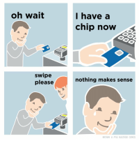 Nothing Makes Sense: oh wait  I have a  chip now  swipe  please  nothing makes sense  NATHAN W PYLE BUZZFEED COMICS