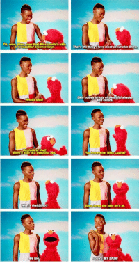Elmo, Love, and Wow: Oh, wow. Elmo sees that Miss Lupita's skin  Isabeautiful brown colour.  That's the thing 1 love most about skin Elmo  Skin comes In lots of beautful shades  and colors.  What's that?  Oh, look at thatf  Elmo's skin is a beautfful rod  You know what Miss Lupita?  What's that Elmo?  Elmo loves  the skin ho's in.  Me too.  LOVE MY SKIN Elmo being wholesome as usual