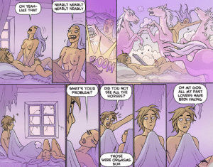 Oglaf: Ungulation. NSFW: OH YEAH-  LIKE THAT  NEARLY NEARLY  NEARLY NEARLY  OH MY GOD  ALL MY PAST  LOVERS HAVE  BEEN FAKING  WHAT'S YOUR  PROBLEM?  DID YOU NOT  SEE ALL THE  HORSES?  THOSE  WERE ORGASM  DUH Oglaf: Ungulation. NSFW