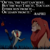 "rafiki: ""OH YES, THE PAST CAN HURT.  BUT THE WAY T SEE IT, YOU CAN  EITHER RUN FROM IT.  OR LEARN FROM IT.""  RAFIKI"