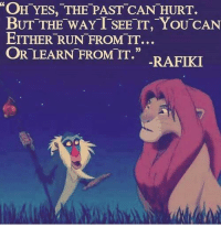 "💯: ""OH YES, THE PAST CAN HURT.  BUT THE WAY TSEETT, YOU CAN  EITHER RUN FROM IT...  OR LEARN FROM IT.""  RAFIKI 💯"