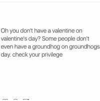 Memes, Valentine's Day, and Yo: Oh you don't have a Valentine on  valentine's day? Some people don't  even have a groundhog on groundhogs  day. check your privilege check yo self ✋🏼 @thegingerjew_