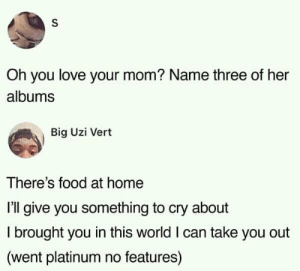 Dank, Food, and Love: Oh you love your mom? Name three of her  albums  Big Uzi Vert  There's food at home  I'll give you something to cry about  I brought you in this world I can take you out  (went platinum no features) 3 albums of my mom by redonehabib MORE MEMES