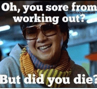Harden up princess!   Gym Memes <<: Oh, you sore from  working out?  But did you die? Harden up princess!   Gym Memes <<