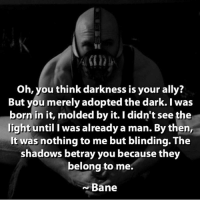 Bane, Memes, and Ally: Oh, you think darkness is your ally?  But you merely adopted the dark. I was  born in it, molded by it. I didn't see the  light until I was already a man. By then,  It was nothing to me but blinding. The  shadows betray you because they  belong to me.  Bane Iconic. What's your favourite quote?