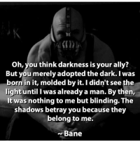 Love this quote! Thoughts on tom performance as bane? dc dccomics dceu dcu dcrebirth dcnation dcextendeduniverse batman superman manofsteel thedarkknight wonderwoman justiceleague cyborg aquaman martianmanhunter greenlantern theflash greenarrow suicidesquad thejoker harleyquinn comics injusticegodsamongus: Oh, you think darkness is your ally?  But you merely adopted the dark. I was  born in it, molded by it. I didn't see the  light until I was already a man. By then,  It was nothing to me but blinding. The  shadows betray you because they  belong to me.  Bane Love this quote! Thoughts on tom performance as bane? dc dccomics dceu dcu dcrebirth dcnation dcextendeduniverse batman superman manofsteel thedarkknight wonderwoman justiceleague cyborg aquaman martianmanhunter greenlantern theflash greenarrow suicidesquad thejoker harleyquinn comics injusticegodsamongus