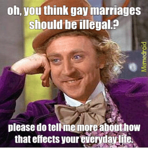 Fuck you homophobic bastards c: - Meme subido por ...: oh, you think gay marriages  should be illegal.?  please do tellme more abouthow  that effects your everydaylite Fuck you homophobic bastards c: - Meme subido por ...